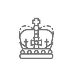 Crown monarchy royal power line icon vector