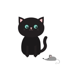 Cute black cartoon sitting cat looking at mouse vector image