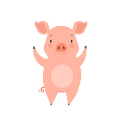 Cute cheerful little pig funny piglet cartoon vector