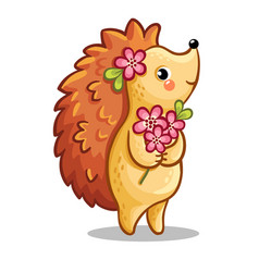 cute hedgehog with bouquet flowers vector image