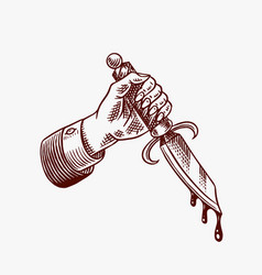 dagger in hand with blood for tattoo or label vector image