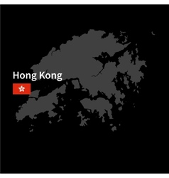 detailed map hong kong with flag on black vector image