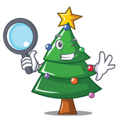 Detective christmas tree character cartoon vector