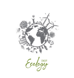 Ecology concept hand drawn isolated vector