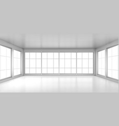 empty white room with large windows vector image