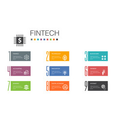 Fintech infographic 10 option line conceptfinance vector