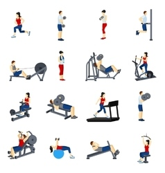 Fitness Gym Training Icons Set vector image