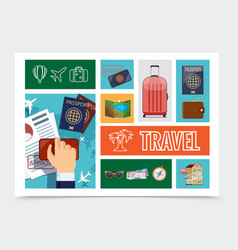 flat travel and journey composition vector image