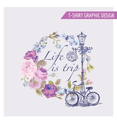 Floral Shabby Chic Graphic Design - for t-shirt vector image