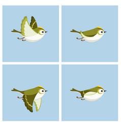 Flying goldcrest male animation sprite sheet vector