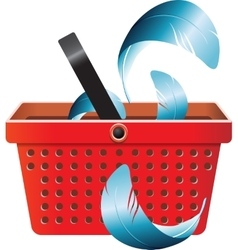 Flying object in shop basket-05 vector