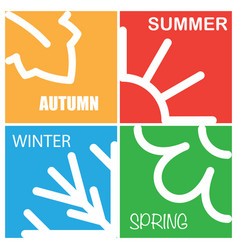 four nature season patterns vector image