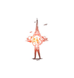 france paris eiffel tower man baguette vector image