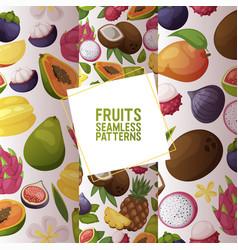 fruits seamless pattern fruity apple banana vector image