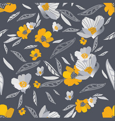 gold and grey flowers seamless pattern vector image