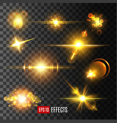 Golden light flashes and star sparkle icons vector