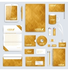 Golden set of corporate identity template vector