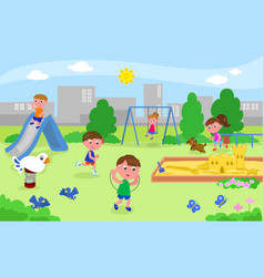 Group of kids playing at the playground vector