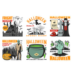 halloween ghost vampire witch and zombie icons vector image