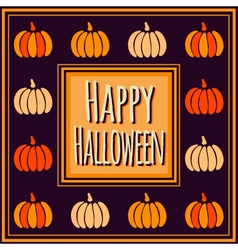 Halloween square frame with colorful pumpkins vector image