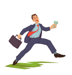 happy businessman throwing up money vector image