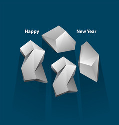 happy new year 2020 text design white polygonal vector image