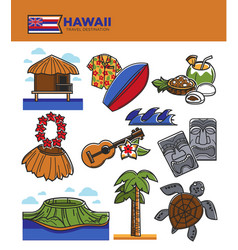 Hawaii travel tourism landmarks and tourist vector