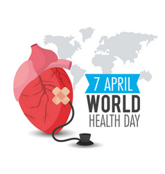 Heart organ with stethoscope to world health day vector