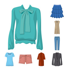 isolated object of woman and clothing icon set of vector image