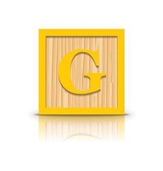 letter G wooden alphabet block vector image