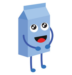light blue milk box with happy face on white vector image
