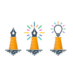 lighthouse shaped pen nibs with bulbs vector image