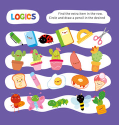 Logic kid find wrong item game printable worksheet vector
