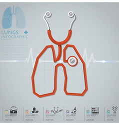 Lungs Shape Stethoscope Health And Medical vector