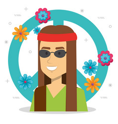 man hippie lifestyle character vector image