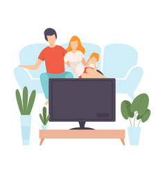 mother father and sin sitting on sofa and watch vector image