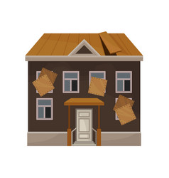 Old house with broken roof and boarded up windows vector