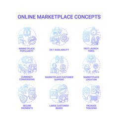 online marketplace concept icons set vector image