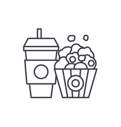 popcorn and cola line icon concept popcorn and vector image