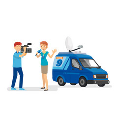 professional journalist and the cameramen in the vector image