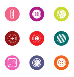 Pushbutton icons set flat style vector