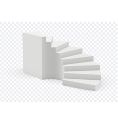 Realistic staircase isolated white stair 3d vector
