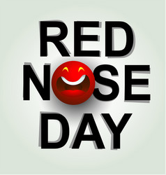 red nose day emblem with fun clown nose vector image