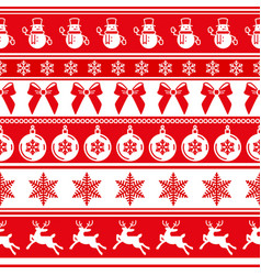red traditional christmas seamless pattern vector image