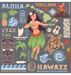 retro set hawaiian icons and symbols vector image