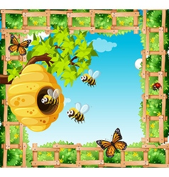 Scene with bees flying around beehive vector image
