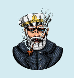 sea captain marine old sailor with pipe vector image