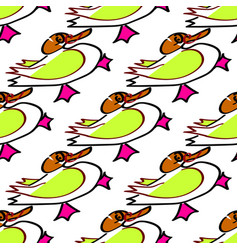 Seamless background duck child s drawing handmade vector