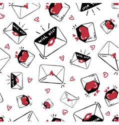 seamless pattern with cute kissed envelope vector image