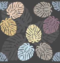 Seamless pattern with elegant monstera leaves vector